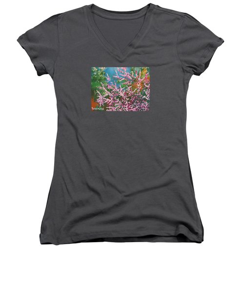 Women's V-Neck T-Shirt (Junior Cut) featuring the painting Springs Blossoms  by Dan Whittemore