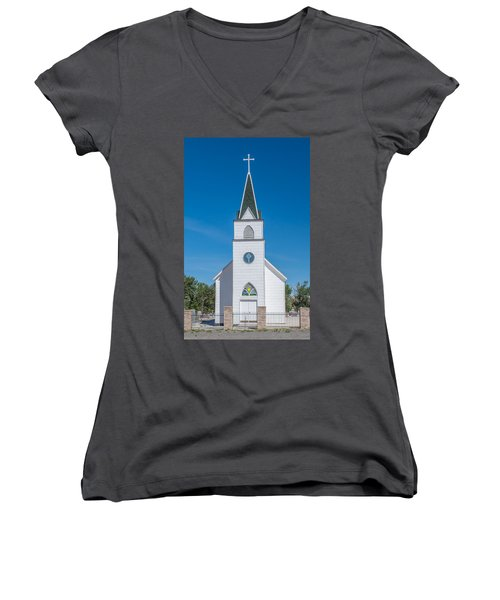 Women's V-Neck T-Shirt (Junior Cut) featuring the photograph St. John The Evangelist Catholic Church by Fran Riley