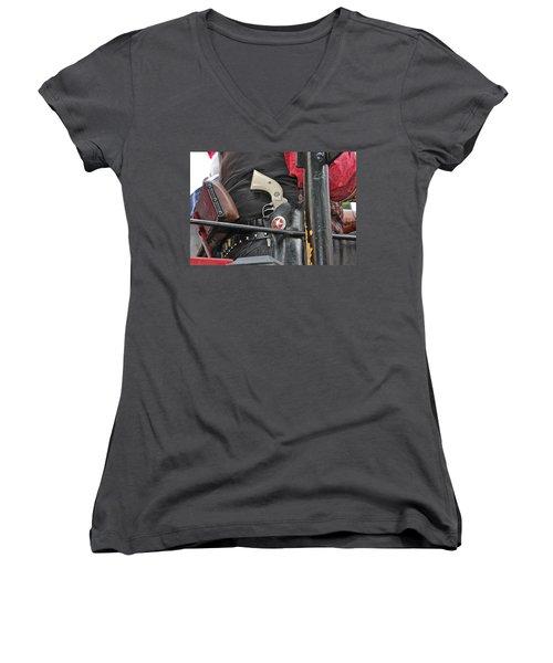 Women's V-Neck T-Shirt (Junior Cut) featuring the photograph Stagecoach Guard by Bill Owen