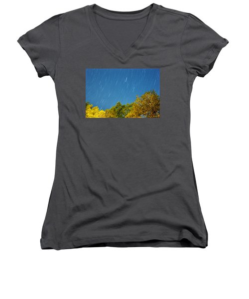 Women's V-Neck T-Shirt (Junior Cut) featuring the photograph Star Trails On A Blue Sky by Kay Lovingood