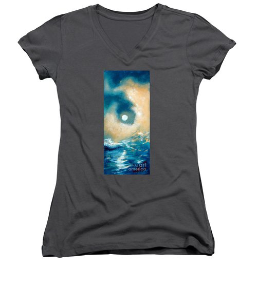 Women's V-Neck T-Shirt (Junior Cut) featuring the painting Storm by Ana Maria Edulescu