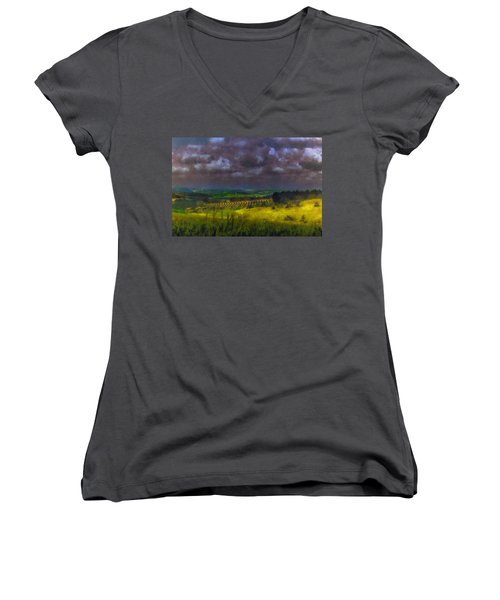 Storm Clouds Over Meadow Women's V-Neck