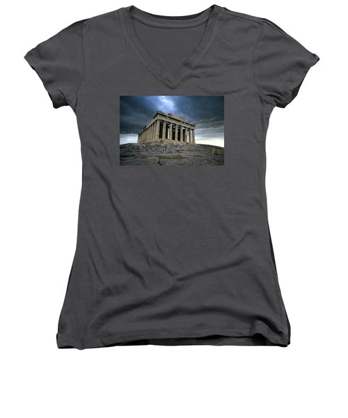 Storm Over The Parthenon Women's V-Neck