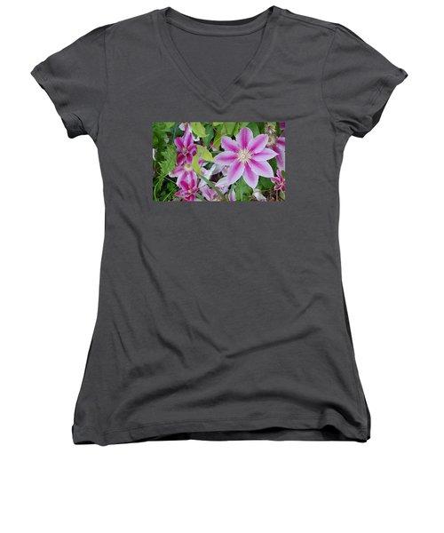 Summer Clematis Women's V-Neck T-Shirt