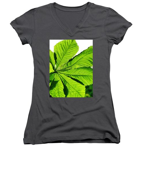 Women's V-Neck T-Shirt (Junior Cut) featuring the photograph Sun On A Horse Chestnut Leaf by Steve Taylor