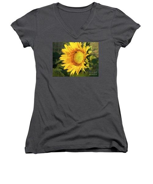 Women's V-Neck T-Shirt (Junior Cut) featuring the digital art Sunflower Digital Art by Deniece Platt