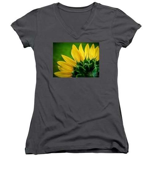 Women's V-Neck T-Shirt (Junior Cut) featuring the photograph Sunflower by Larry Carr