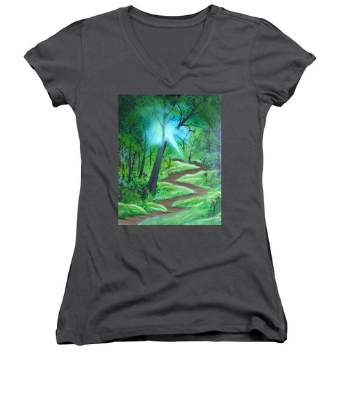 Sunlight In The Forest Women's V-Neck (Athletic Fit)