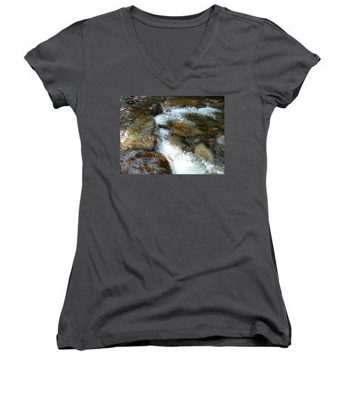 Sunlit Cascade Women's V-Neck T-Shirt (Junior Cut) by Joel Deutsch