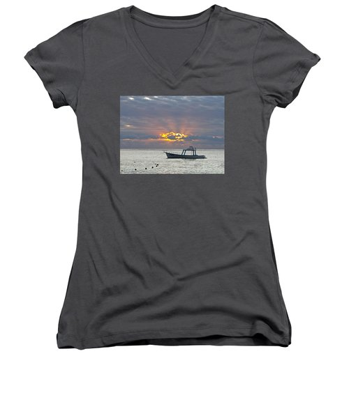Sunrise - Puerto Morelos Women's V-Neck T-Shirt
