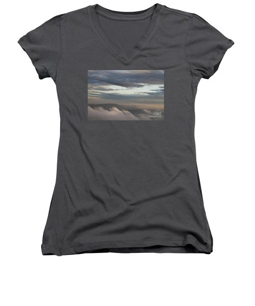 Women's V-Neck T-Shirt (Junior Cut) featuring the photograph Sunrise In The Mountains by Jeannette Hunt