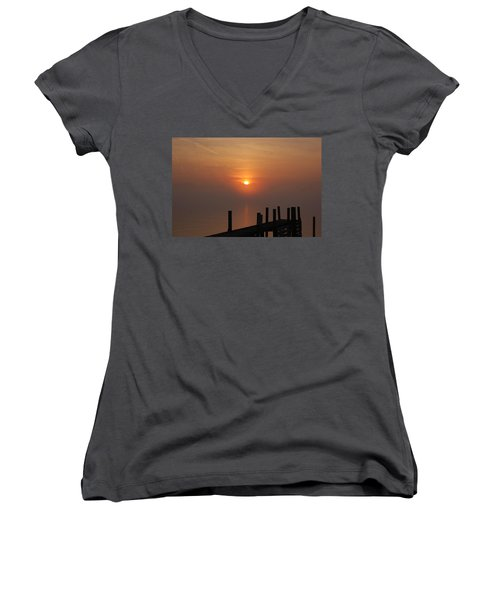 Sunrise On The River Women's V-Neck