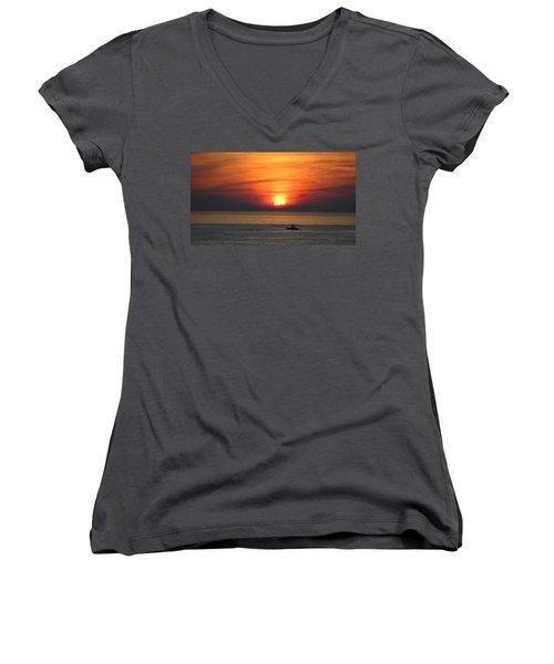 Sunrise Over Gyeng-po Sea Women's V-Neck T-Shirt (Junior Cut) by Kume Bryant