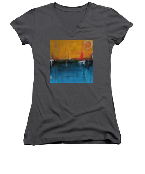 Sunset At The Lake  # 1 Women's V-Neck T-Shirt (Junior Cut) by Nicole Nadeau