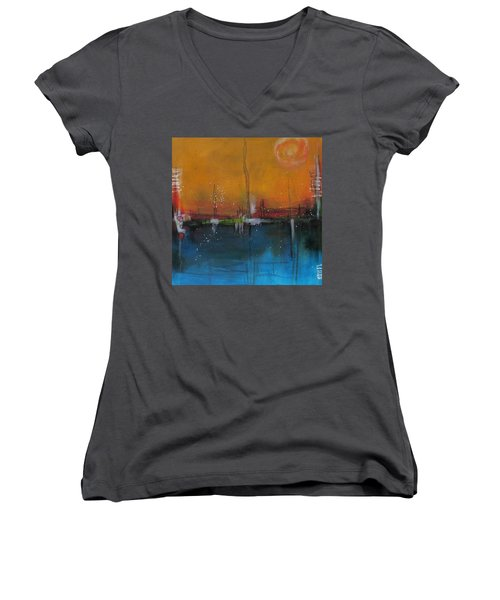 Sunset At The Lake # 2 Women's V-Neck T-Shirt (Junior Cut) by Nicole Nadeau