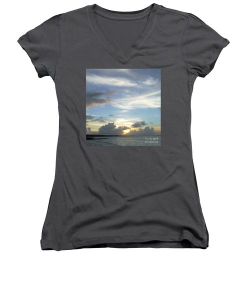 Women's V-Neck T-Shirt (Junior Cut) featuring the photograph Sunset In Majuro by Andrea Anderegg