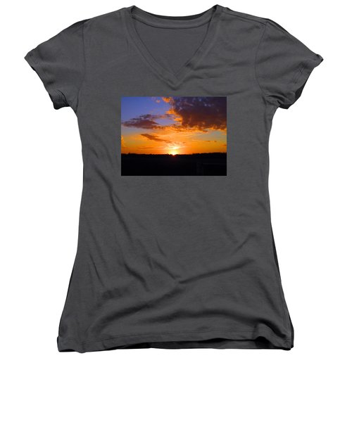 Sunset In Wayne County Women's V-Neck (Athletic Fit)