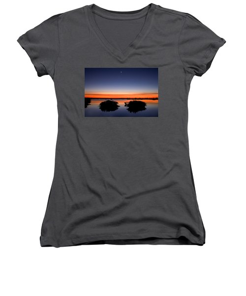 Sunset Moon Venus Women's V-Neck T-Shirt