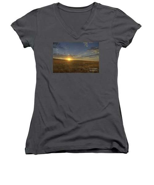 Sunset On The Prairie Women's V-Neck (Athletic Fit)