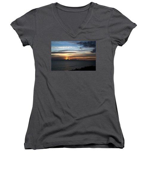 Sunset Over Poole Bay Women's V-Neck T-Shirt