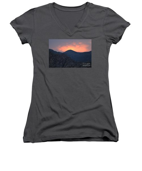 Women's V-Neck T-Shirt (Junior Cut) featuring the photograph Sunset Over Red Rock by Art Whitton