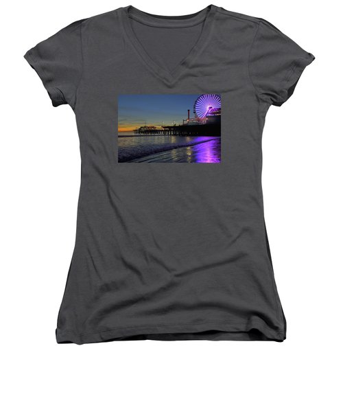 Sunset Purple Women's V-Neck (Athletic Fit)