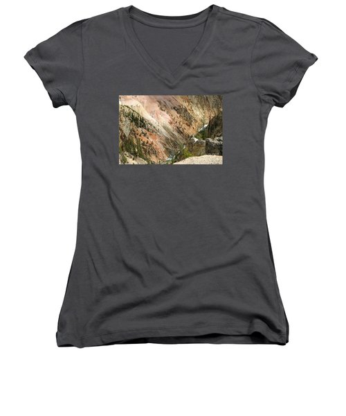 Sunshine On Grand Canyon In Yellowstone Women's V-Neck T-Shirt (Junior Cut) by Living Color Photography Lorraine Lynch
