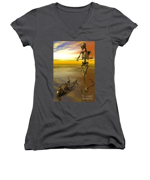 Surreal Skeleton Jogging Past Prone Skeleton With Sunset Women's V-Neck T-Shirt