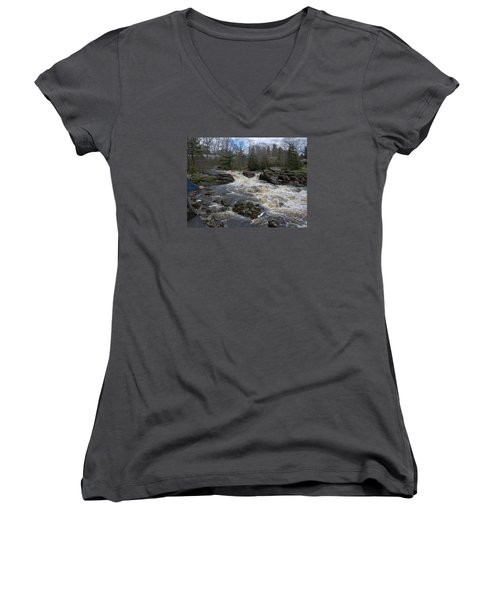 Women's V-Neck T-Shirt (Junior Cut) featuring the photograph Surry Falls by Francine Frank