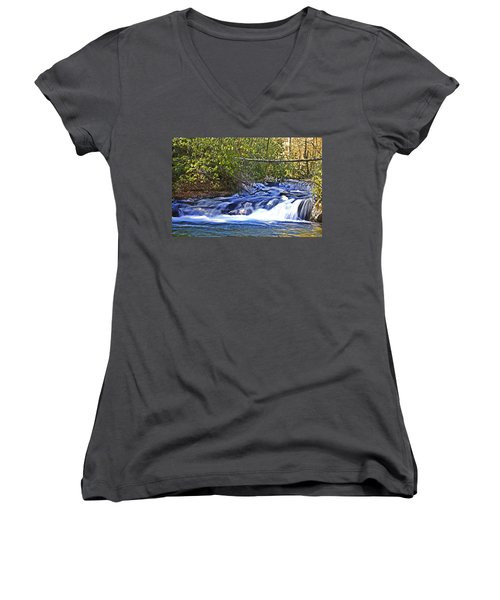 Women's V-Neck T-Shirt (Junior Cut) featuring the photograph Swiftly Flowing River by Susan Leggett