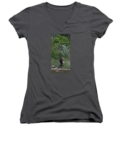 Women's V-Neck T-Shirt (Junior Cut) featuring the photograph Taking Home The Catch by Francine Frank