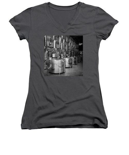 Women's V-Neck T-Shirt (Junior Cut) featuring the photograph Tequilera S.s. Distillation Tanks by Lynn Palmer