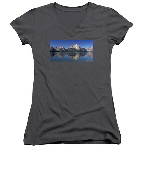 Women's V-Neck T-Shirt (Junior Cut) featuring the photograph Teton Panoramic View by Marty Koch