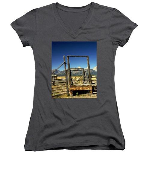 Women's V-Neck T-Shirt (Junior Cut) featuring the photograph Teton Ranch by Marty Koch