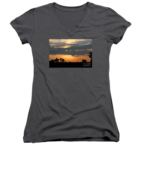 Women's V-Neck T-Shirt (Junior Cut) featuring the photograph Texas Sized Sunset by Kathy  White