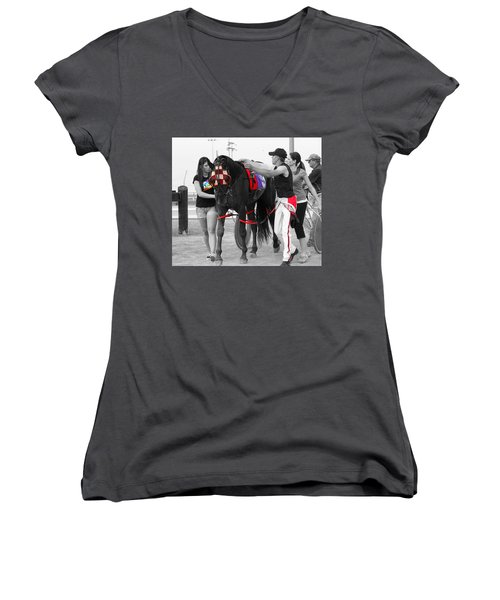 Women's V-Neck T-Shirt (Junior Cut) featuring the photograph The Backside by Davandra Cribbie