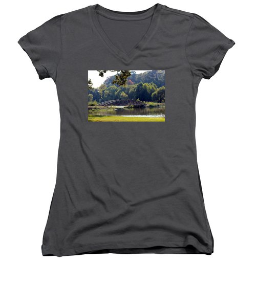 Women's V-Neck T-Shirt (Junior Cut) featuring the photograph The Bridge by Kathy  White