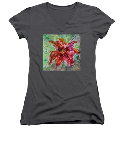 Women's V-Neck T-Shirt (Junior Cut) featuring the painting The Christmas Poinsettia by Dragica  Micki Fortuna