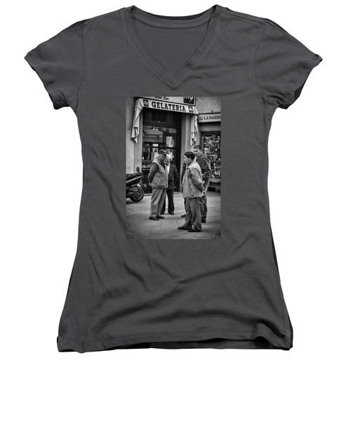 Women's V-Neck T-Shirt (Junior Cut) featuring the photograph The Conference by Hugh Smith