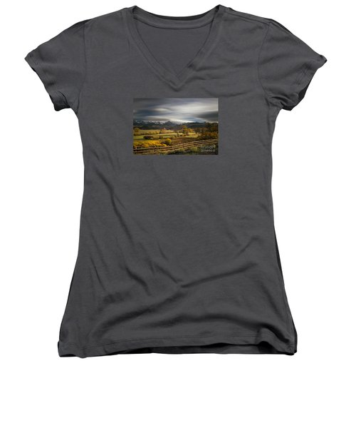 Women's V-Neck T-Shirt (Junior Cut) featuring the photograph The Dallas Divide by Keith Kapple