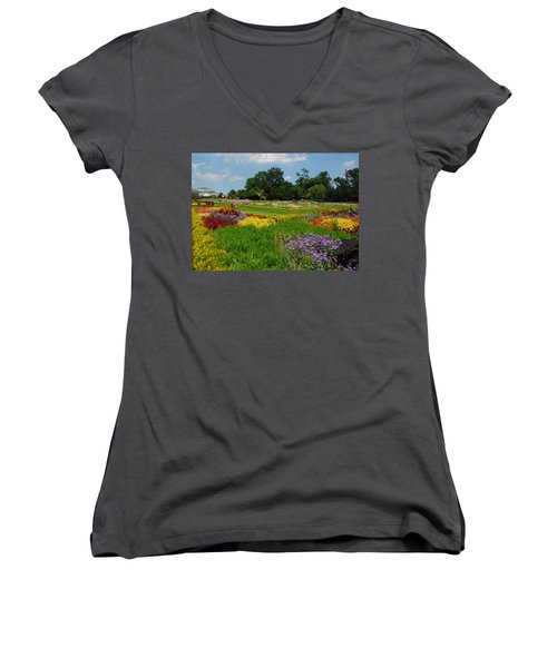 Women's V-Neck T-Shirt (Junior Cut) featuring the photograph The Gardens Of The Conservatory by Lynn Bauer