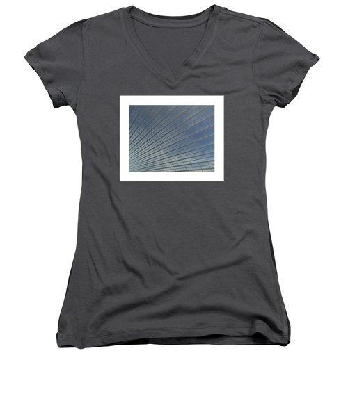 Women's V-Neck T-Shirt (Junior Cut) featuring the digital art The Hangar... by Tim Fillingim