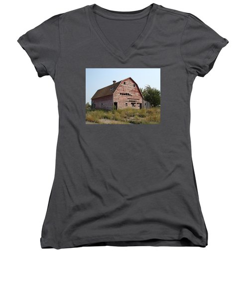 Women's V-Neck T-Shirt (Junior Cut) featuring the photograph The Hole Barn by Bonfire Photography