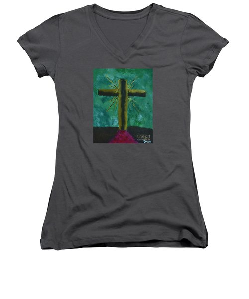 Women's V-Neck T-Shirt (Junior Cut) featuring the painting The Old Rugged Cross by Donna Brown