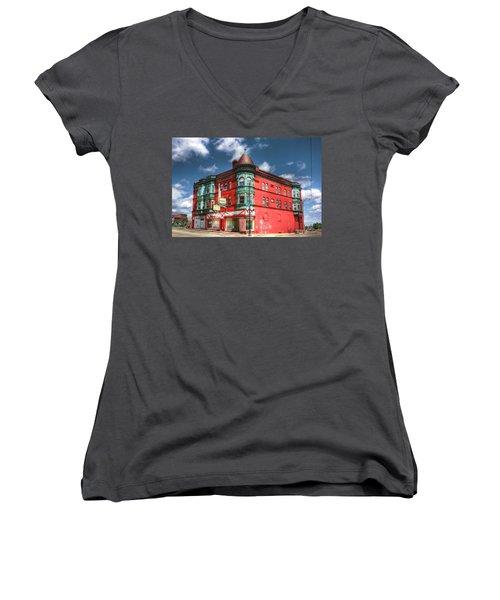 The Sauter Building Women's V-Neck T-Shirt (Junior Cut) by Dan Stone