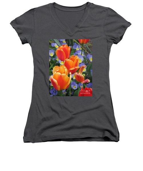 The Secret Life Of Tulips - 2 Women's V-Neck T-Shirt (Junior Cut) by Rory Sagner