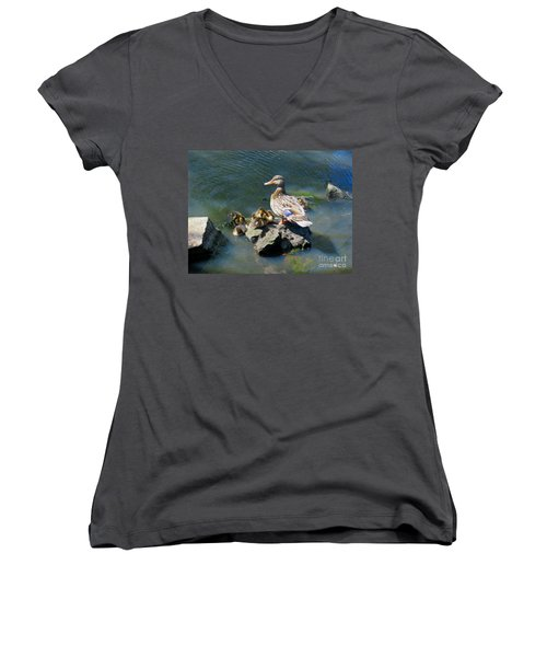The Swimming Lesson Women's V-Neck T-Shirt (Junior Cut) by Rory Sagner