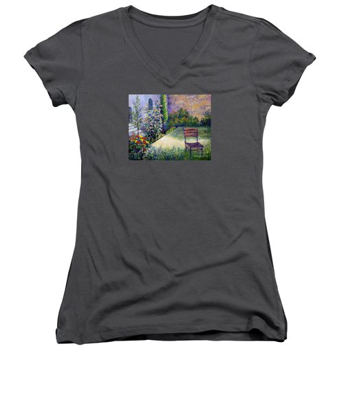 Women's V-Neck T-Shirt (Junior Cut) featuring the painting The Unseen Guest by Lou Ann Bagnall
