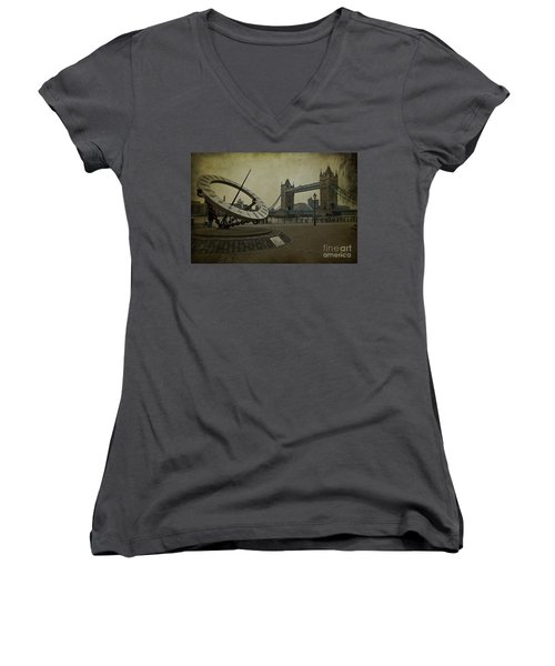 Women's V-Neck T-Shirt (Junior Cut) featuring the photograph Timepiece. by Clare Bambers