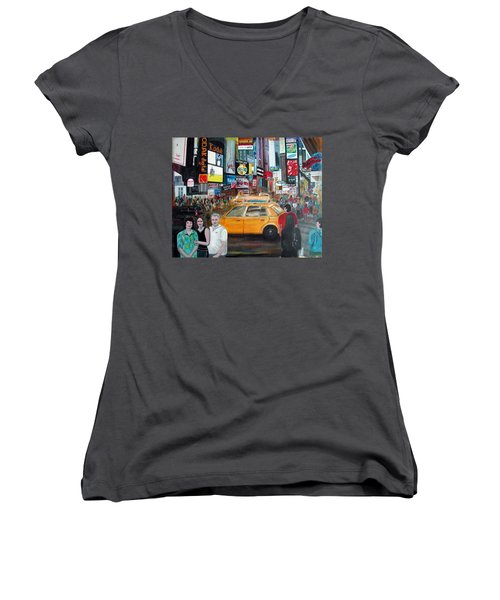 Women's V-Neck T-Shirt (Junior Cut) featuring the painting Times Square by Anna Ruzsan